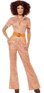 orange jumpsuit s 70 s chic orange print jumpsuit 70s costumes 60 s costumes