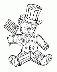patriotic teddy bear independence day coloring page for kids
