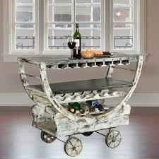 mango wood industrial rolling wine bar cart w glass stem rack