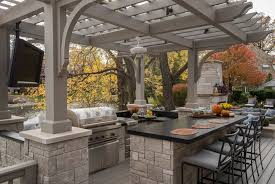 Outdoor Kitchen Ideas Grey Colored Pergola For Modern Outdoor Kitchen Ideas With Black
