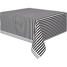 White Plastic Table Black Striped Plastic Table Cover 108