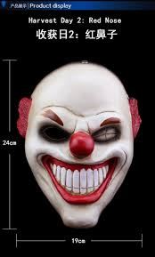 red nose clown resin mask movie payday2 theme scary masks