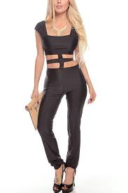 rompers and jumpsuits black cutout midsection sleeve jumpsuit rompers and