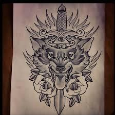 grey ink dagger and wolf tattoo design tattoos pinterest