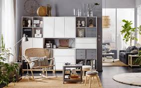 gold and gray color scheme living room bookcase woven basket wall decor gray metallic gold