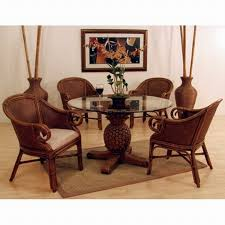 Rattan Kitchen Table by Enchanting Wicker Dining Chairs Indoor With Round Glass Table Top