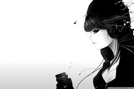Cute Black And White Wallpapers by Listening To Music Bw Hd Desktop Wallpaper Widescreen