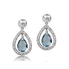 aquamarine earrings florence aquamarine earrings estate diamond jewelry