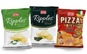 ripples chips new n calbee chips spicy pizza potato ripples nori