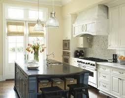 Harlequin Backsplash - blue kitchen island transitional kitchen berkley vallone
