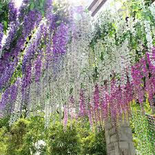 6x artificial silk wisteria garden hanging flower vine