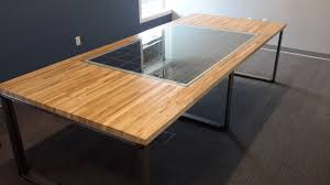 hand crafted custom maple butcher block conference table with