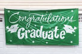 Congratulation Banner Graduation Congratulation Banner Hanging Outside Garage Door Stock
