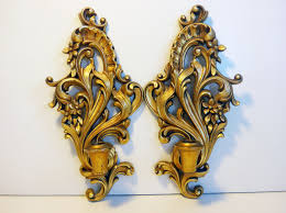 2 vintage gold ornate burwood wall sconces pair wood candle
