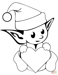 cute christmas elf coloring page free printable coloring pages