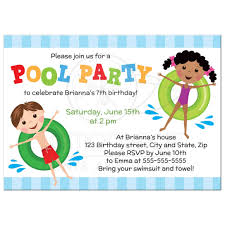 pool birthday party invitation for kids boy and on inflatables