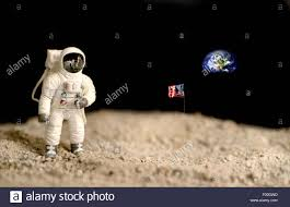 Picture Of Flag On Moon Astronaut On The Moon With The Earth And The American Flag On The