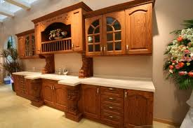 Graceful Medium Oak Kitchen Cabinets Traditional Wood Golden Brown - Kitchen cabinets wooden