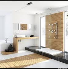 bathroom wood floor tile walls