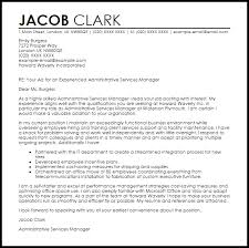 administrative services manager cover letter sample livecareer