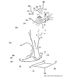 coloriage de points à relier dessin un chat facile a reconnaitre