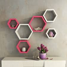 designer wall shelves set of 6 designer hexagon wall shelves pink u0026 white