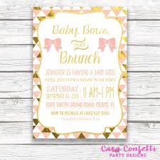 baby shower brunch invitations baby shower brunch invitation baby bows and brunch and