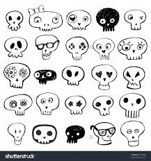 nice set of non threatening skulls skulls doodles vector set