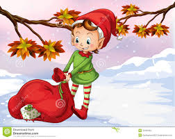 an elf holding a bag of gifts stock photo image 32330940