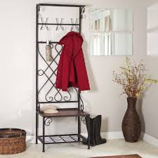 Coat Rack With Bench Seat Interior Alluring Black Metal Entryway Bench With Rack Wood Bench