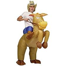 Blow Halloween Costumes Inflatable Cowboy Horse Riding Adults Fancy Dress Party