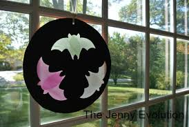 halloween crafts for kids flying bats silhouette windows