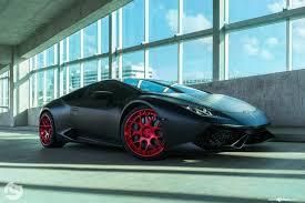 Lamborghini Huracan All Black - black lamborghini huracan with red custom rims by avant garde