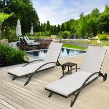 Rattan Wicker Patio Furniture Black Ikayaa 3pcs Rattan Wicker Patio Chaise Lounge Chair Table