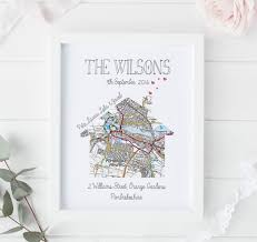 details about personalised map print new home first house gift