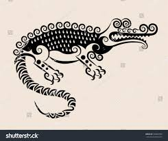 decorative crocodile alligator flora ornaments leaf stock vector