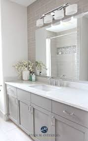 Gray Tile Bathroom - 5 tricks for choosing the perfect paint color white vanity