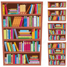 cartoon illustration of a bookshelf in 5 different versions