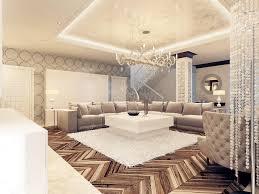 luxury art deco design bright living room with large corner sofa