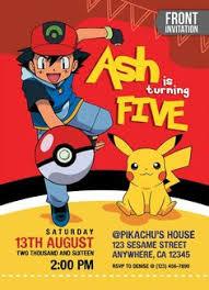 pokemon ball pikachu anime birthday party card digital invitation