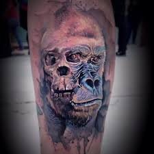 watercolor gorilla face tattoo watercolor tattoos pinterest