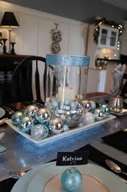 Christmas Table Decoration Ideas Blue Silver by 9 Best Christmas Centerpiece Images On Pinterest Christmas