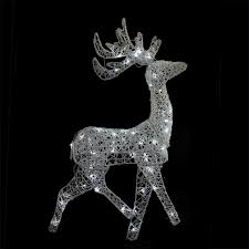 Lighted Deer Lawn Ornaments by 52 Led Lighted Elegant White Glittered Reindeer Christmas Yard Art