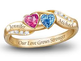 personalized gold rings our grows stronger personalized birthstone couples ring