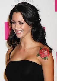 jessica jane clement u0027s tattoos flower tattoo on upper arm