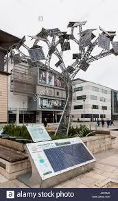 solar powered energy tree in millennium square bristol uk stock