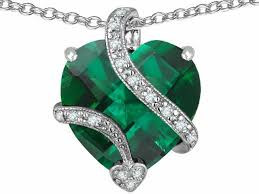 heart shaped emerald necklace images Star k large 15mm heart shaped simulated emerald pendant necklace jpg