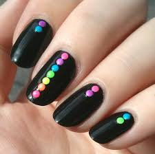 120 neon rainbow nail art 2mm round studs 6 colors rainbow