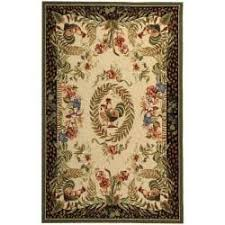Black And Cream Rug Safavieh Hand Hooked Rooster And Hen Cream Black Wool Rug 3