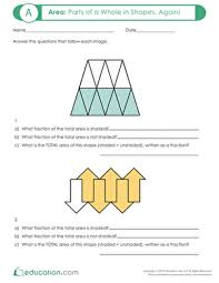 area parts of a whole in shapes again worksheet education com